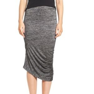 NWT Trouvé Gray Asymmetrical Ruched Midi Skirt